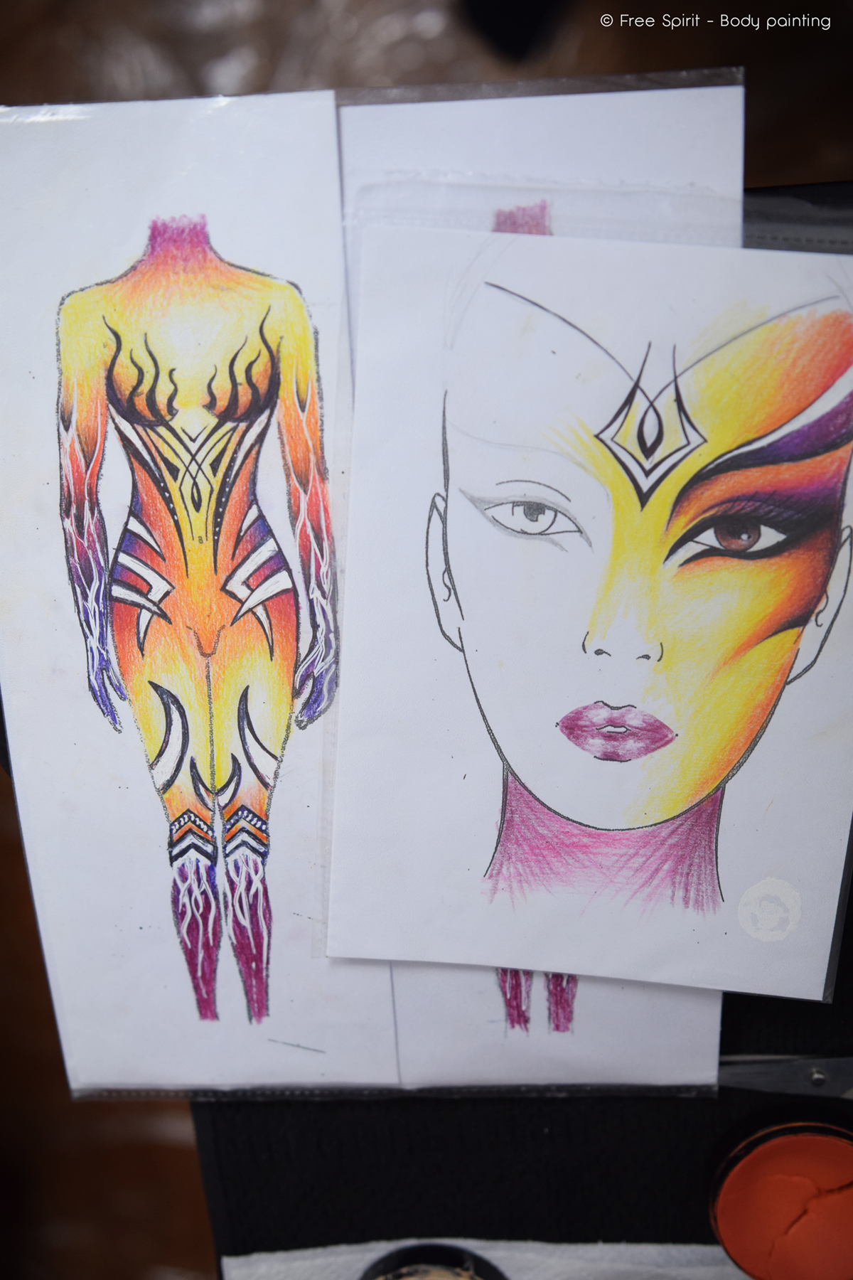 Body painting par Free Spirit corps entier maquillage artistique enfants adultes