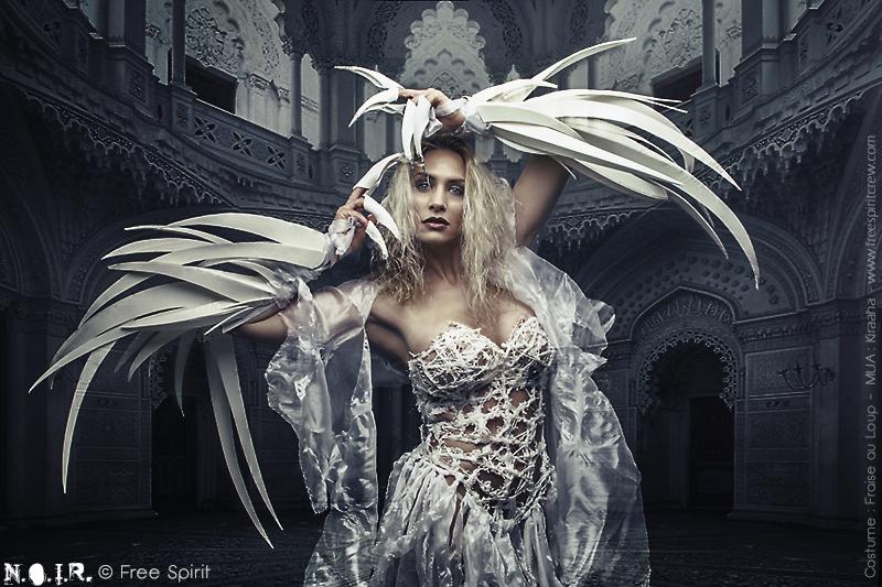 Luis Royo photo Free Spirit robe blanche déchirée lambeaux griffes géantes