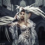 corset blanc en bannière par Fraise au Loup pour Luis Royo costume