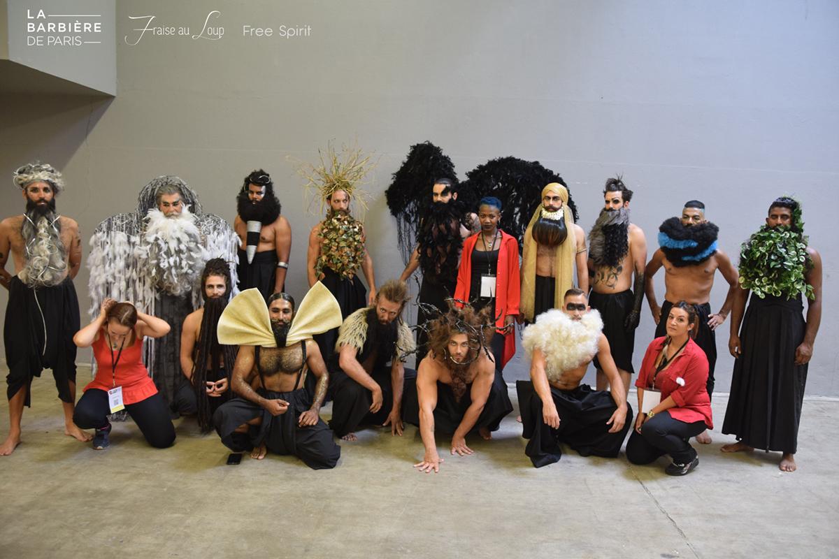 MCB salon mondial de la coiffure La Barbière de Paris Free Spirit Fraise au Loup défilé show barbus hipsters équipe de maquilleuses professionnelles