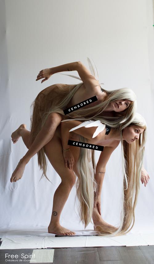 Free Spirit Fallen Angels photo nu ailes plumes feathers cheveux blanc perruque studio Mulhouse paris