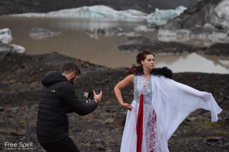 Tournage clip Islande glacier Free Spirit shooting photo danse